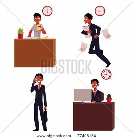 Work day of black, African American businessman - breakfast, hurrying, talking by phone, in office, cartoon vector illustration isolated on white background. Work day of black, African businessman