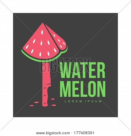 Red and green logo template with stylized triangular watermelon piece stuck on standing knife, vector illustration isolated on black background. Watermelon logotype, logo design with watermelon piece