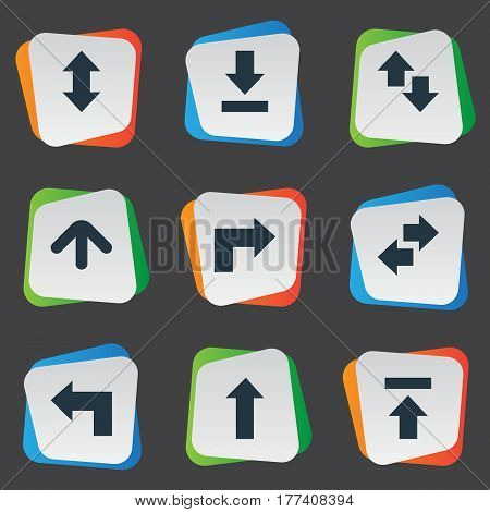 Vector Illustration Set Of Simple Arrows Icons. Elements Right Leading Arrow, Pointer, Down Up And Other Synonyms Download, Falling And Down.