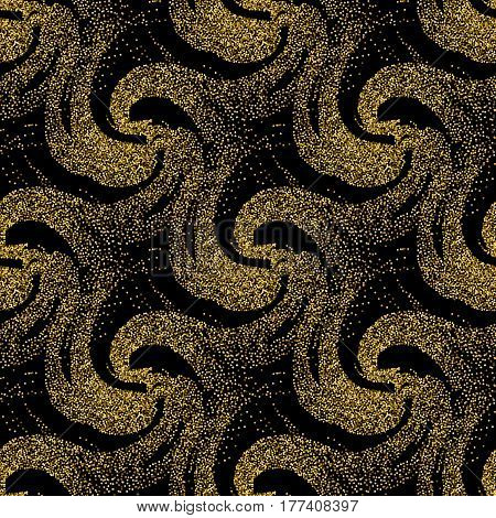 Seamless abstract pattern of glitter with the effect of golden sand. Background with waves.