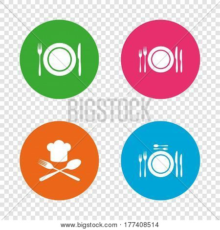 Plate dish with forks and knifes icons. Chief hat sign. Crosswise cutlery symbol. Dining etiquette. Round buttons on transparent background. Vector
