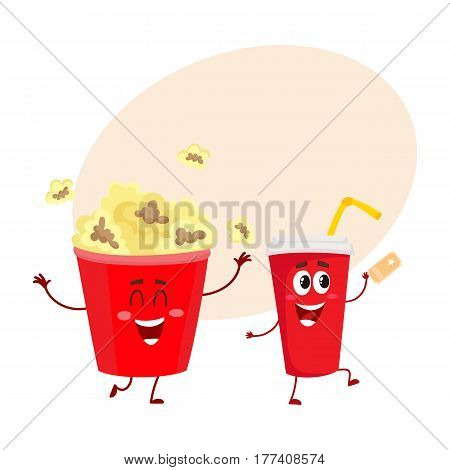 Cinema popcorn and soda water characters with smiling human face, cartoon vector illustration with place for text. Funny cinema popcorn bucket and soda water cup character, mascot