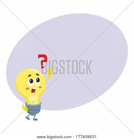 Cute light bulb character with funny face and question mark, cartoon vector illustration with place for text. Funny light bulb character, insight, problem solving, solution finding concept