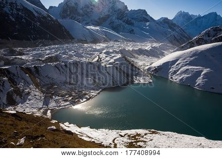 View To Gokyo Lake And Village In Everest Region, Nepal
