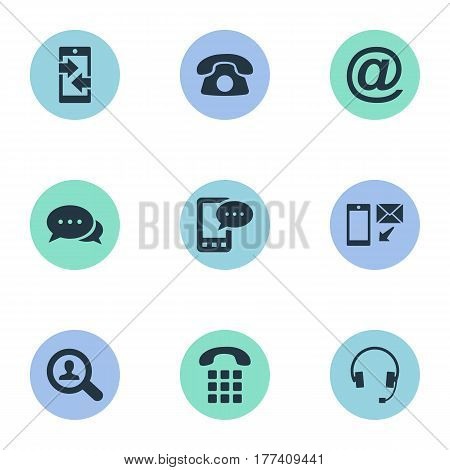 Vector Illustration Set Of Simple Connect Icons. Elements Job Research, House Phone, New-Come Letter And Other Synonyms Phone, Chat And Talk.