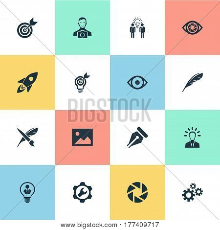 Vector Illustration Set Of Simple Visual Art Icons. Elements Rocket, Leader, Zoom And Other Synonyms Team, Gears And Gear.