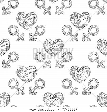 Vector abstract male and female gender signs and heart pattern. Hand drawn sexual identity symbols seamless background.