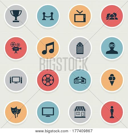 Vector Illustration Set Of Simple Cinema Icons. Elements Theatre, Music Note, Trophy And Other Synonyms Champion, Note And Trophy.