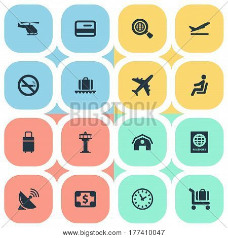 Vector Illustration Set Of Simple Plane Icons. Elements Seat, Antenna, Travel Bag And Other Synonyms Certificate, Satelite And Plastic.
