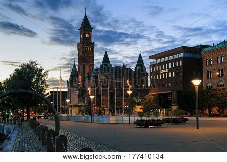 HELSINGBORG, SWEDEN - JUNE 28, 2016: This is the Town Hall in the summer northern night.