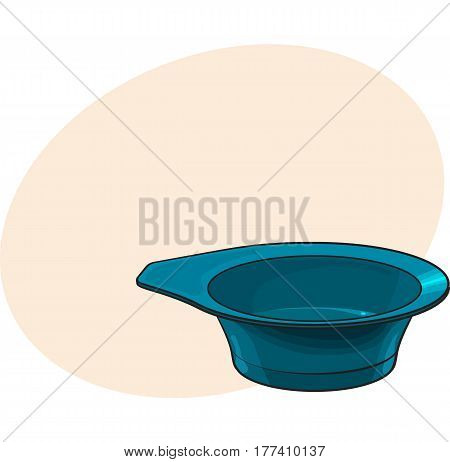 Color mixing plastic hairdresser bowl, sketch style vector illustration with place for text. Hairdresser bowl for color mixing, hair bleaching