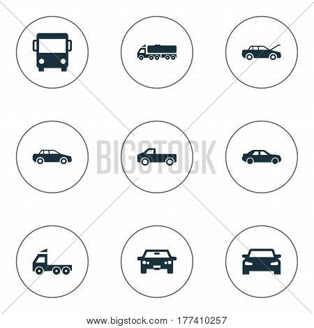Vector Illustration Set Of Simple Auto Icons. Elements Tour Bus, Repairing Service, Driving And Other Synonyms Trucks, Bus And Haulage.