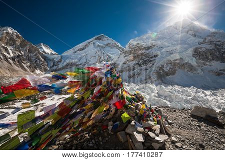 Beautiful view of the Pray flags in Everest base camp