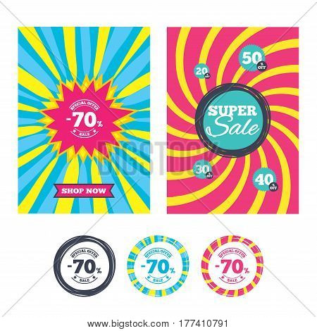 Sale banners and labels. Special offer tags. 70 percent discount sign icon. Sale symbol. Special offer label. Colored web buttons. Vector