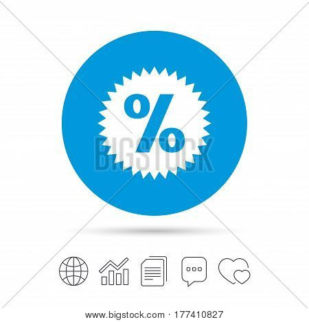 Discount percent sign icon. Star symbol. Copy files, chat speech bubble and chart web icons. Vector