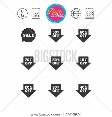 Information, report and calendar signs. Sale discounts icons. Special offer signs. Shopping price tag symbols. Classic simple flat web icons. Vector