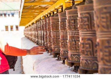 Beautiful view of the Praying drums in Nepal