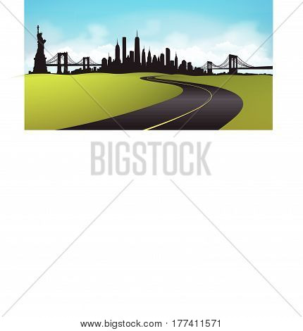 New York City Skyline environment with road