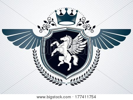 Vector Retro Insignia Design Decorated Using Vintage Elements Like Royal Crown And Pegasus