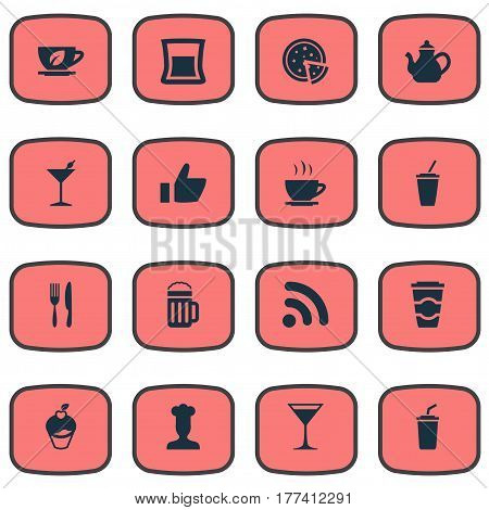 Vector Illustration Set Of Simple Beverage Icons. Elements Wineglass, Glass, Fork With Knife And Other Synonyms Alcohol, Cupcake And Restaurant.