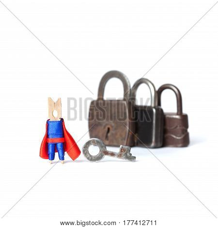 Super hero and retro style padlock collection on white background. Wooden clothespin peg character safety concept. Macro view photo.