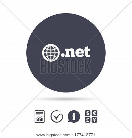 Domain NET sign icon. Top-level internet domain symbol with globe. Report document, information and check tick icons. Currency exchange. Vector