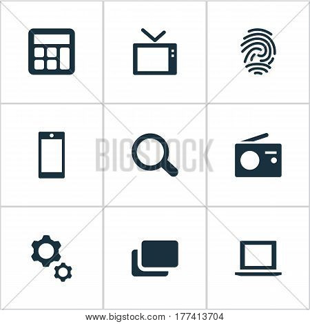 Vector Illustration Set Of Simple Technology Icons. Elements Tuner, Options, Smartphone And Other Synonyms Magnifier, Fingerprint And Mobile.