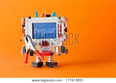 Repair serviceman robotic character with funny monitor head, colorful retro display. orange background copy space