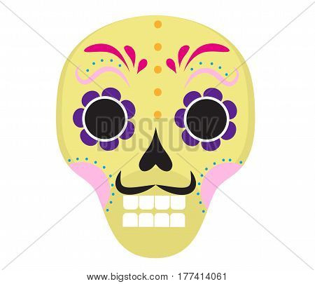 Sugar skull icon, flat, cartoon style. Cute dead head, skeleton for the Day of the Dead in Mexico. Isolated on white background. Vector illustration, clip art