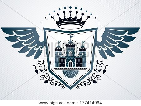 Heraldic Vintage Vector Design Element. Retro Style Label Created Using Medieval Fortress And Monarc