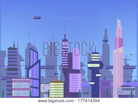 future city flat illustration. urban cityscape template with modern buildings and futuristic traffic, banner for web design.