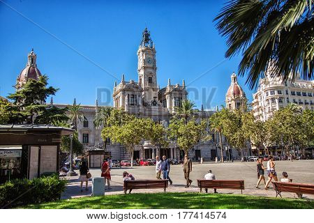 VALENCIA SPAIN - OCTOBER 1: Square with City Hall Building in Valencia Spain in 2013