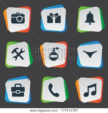 Vector Illustration Set Of Simple  Icons. Elements Fragrance, Gift, Business Bag And Other Synonyms Switchboard, Fragrance And Diplomat.
