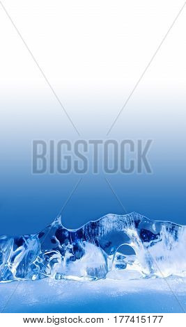 Deepfreeze ice temple. Frozen crystal blue background, abstract shapes. macro view shallow depth of field. copy space.