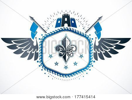 Heraldic isolated vector emblem  decorated with medieval tower.