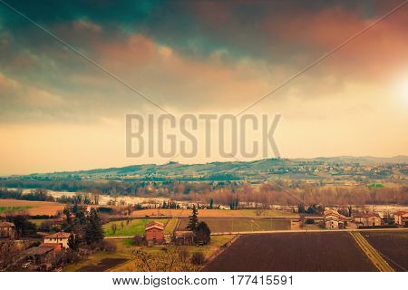 Rural Landscape With Fields And Villages