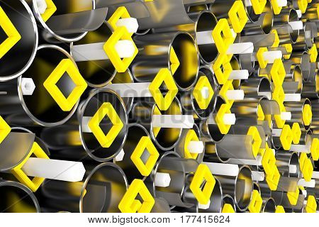 Pattern Of Metal Tubes, Hexagons, Square Elements And Glass Surfaces