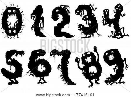 Illustration symbols zero to nine. Black pictographic figures like monsters with eyes