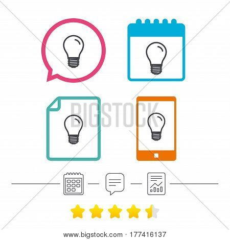 Light bulb icon. Lamp E27 screw socket symbol. Led light sign. Calendar, chat speech bubble and report linear icons. Star vote ranking. Vector