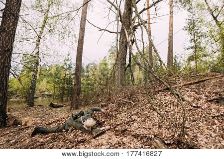 Pribor, Belarus - April 24, 2016: Unidentified Re-enactor Dressed As German Wehrmacht Infantry Soldier In World War II Soldier Lying Dead On Battlefield At Historical Reconstruction In Autumn Forest