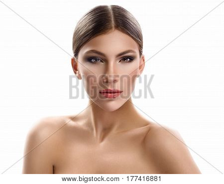 The Woman. Cropped close up of a stunning young woman with perfect sking posing against white background copyspace makeup visage maquillage beauty treatment procedure products concept