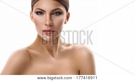 Perfect woman. Beautiful young female fashion model posing confidently against white background copyspace makeup visage cosmetology beautician wellness rejuvenation youth concept