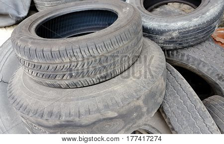 dump the old car tires and background