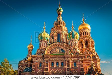 The Church of the Savior on Spilled Blood at sunset in St. Petersburg Russia.