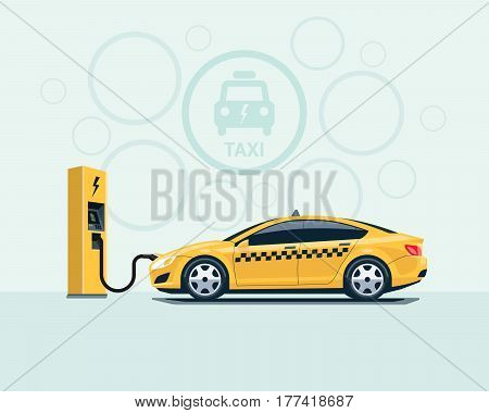 Electric Taxi Car Charging At The Charging Station