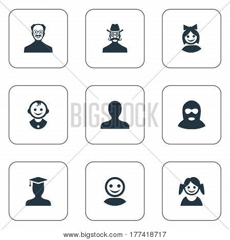 Vector Illustration Set Of Simple Member Icons. Elements Moustache Man, Whiskers Man, Postgraduate And Other Synonyms Mustaches, Profile And Offender.