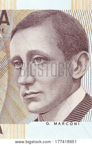 Guglielmo Marconi portrait from Italian money - lire