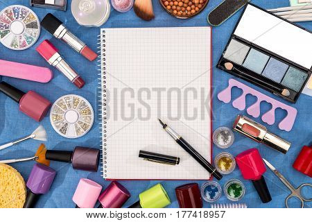 makeup maquillage kit - palette brush eye shadow powder lipstick with empty notepad.