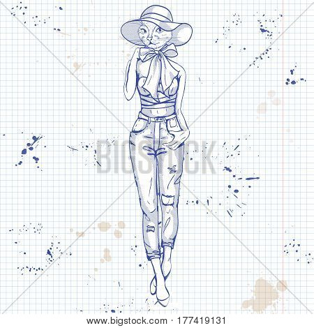 Vector sketch of female model with cats head wearing ripped jeans, top, hat, bow and ballet on a notebook page.
