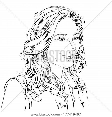 Vector art drawing portrait of gorgeous dreamy girl isolated on white. Facial expressions people positive emotions. Caucasian melancholic woman.
